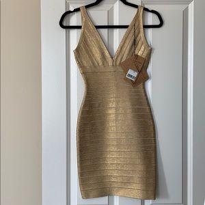 Gold Bodycon Dress Size XS - NWT
